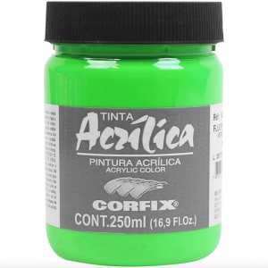 TINTA ACRÍLICA fluorescente 250ML VERDE 1025 - CORFIX